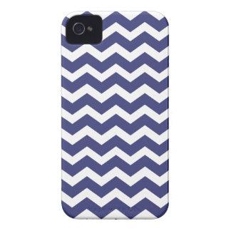 Chic Chevron Blackberry Case--Navy Blue & White iPhone 4 Case-Mate Case