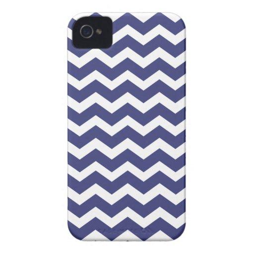Chic Chevron Blackberry Case--Navy Blue & White