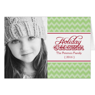 Chic Chevron Holiday Cheer Folded Christmas Card
