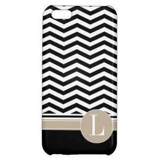 Chic Chevron Monogram | black iPhone 5C Cover
