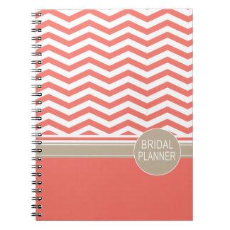 Chic Chevron Monogram   coral Bridal Planner Note Book