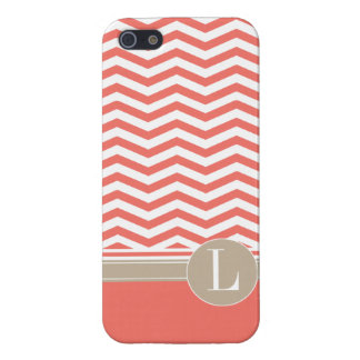Chic Chevron Monogram | coral iPhone 5 Covers