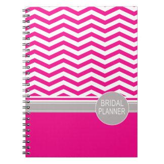 Chic Chevron Monogram   fuschia Bridal Planner Spiral Notebook