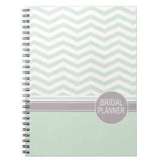 Chic Chevron Monogram   mint Bridal Planner Note Book