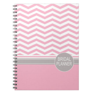 Chic Chevron Monogram   pink Bridal Planner Notebooks