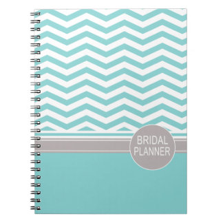 Chic Chevron Monogram   teal Bridal Planner Spiral Note Books