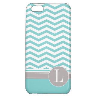 Chic Chevron Monogram | teal iPhone 5C Covers