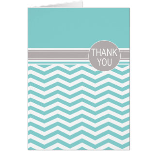 Chic Chevron Monogram | teal Thank You Card