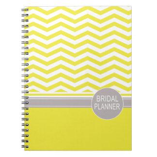 Chic Chevron Monogram   yellow Bridal Planner Note Books