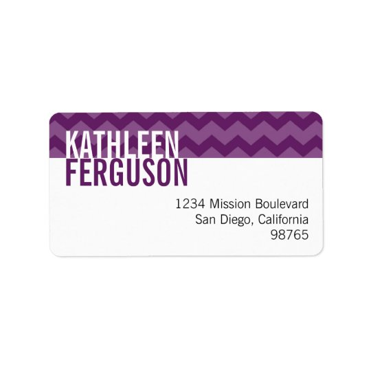Chic chevron pattern purple custom return address address label
