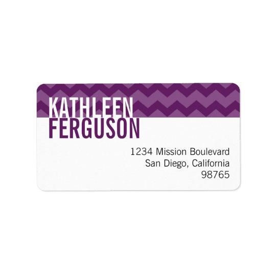 Chic chevron pattern purple custom return address label