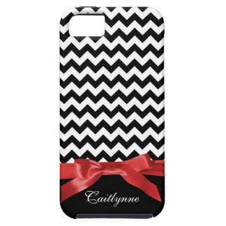 Chic Chevron Stripes BW and Red Ribbon iPhone 5 Cover