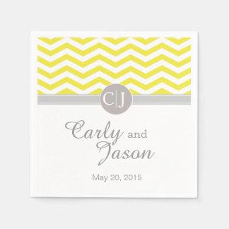 Chic Chevron | yellow grey white Paper Napkin