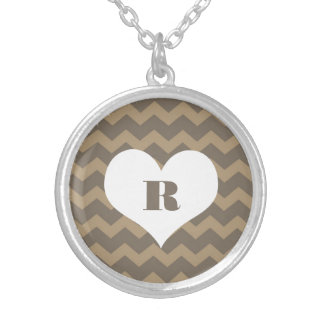 Chic chevron zigzag pattern custom monogram gray personalized necklace