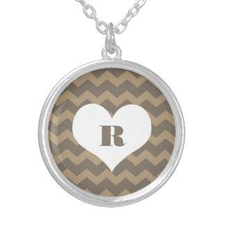 Chic chevron zigzag pattern custom monogram gray personalized necklace