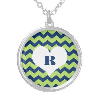 Chic chevron zigzag pattern custom monogram green round pendant necklace