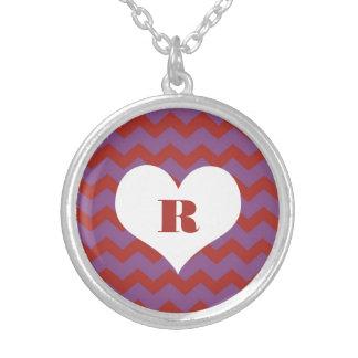 Chic chevron zigzag pattern custom monogram red custom necklace
