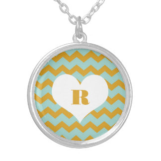 Chic chevron zigzag pattern custom monogram yellow round pendant necklace