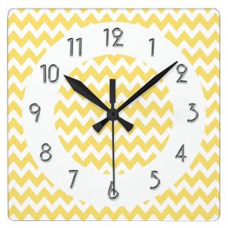 Chic Chevrons Pattern - Lemon White Square Wall Clock