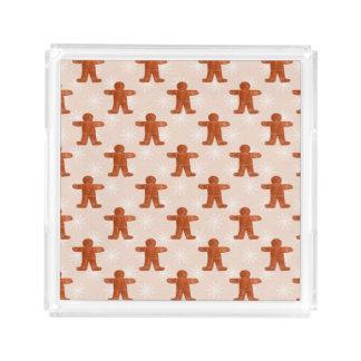 Chic Christmas Ginger Man Pattern Holiday Cream Acrylic Tray