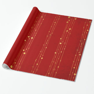 Chic Christmas Red and Gold Contemporary Patterned Wrapping Paper