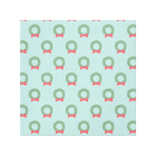 Chic Christmas Wreath Pattern Canvas Prints