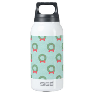 Chic Christmas Wreath Pattern Insulated Water Bottle