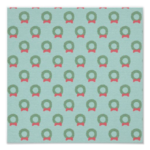 Chic Christmas Wreath Pattern Poster