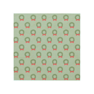 Chic Christmas Wreath Pattern Wood Canvases
