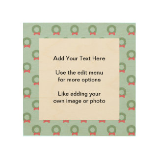 Chic Christmas Wreath Pattern Wood Canvas