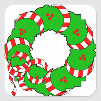 CHIC CHRISTMAS WREATH_RED/GREEN/WHITE SQUARE STICKER