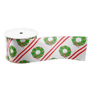 CHIC CHRISTMAS WREATH_RED/GREEN/WHITE & STRIPES SATIN RIBBON