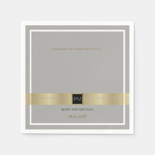 chic & classy gold lines on grey wedding monogram disposable napkins