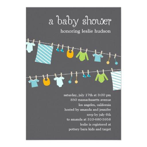 Chic Clothesline Baby Shower Invitation (Boy) Invite