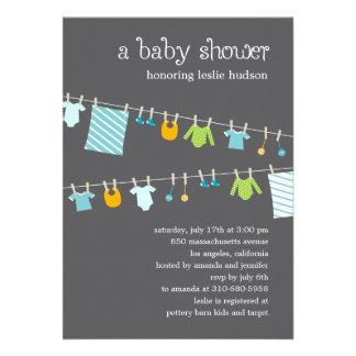 Chic Clothesline Baby Shower Invitation Boy Invitation