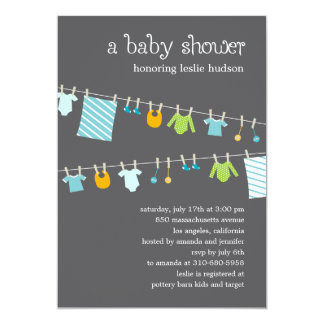 Chic Clothesline Baby Shower Invitation (Boy)