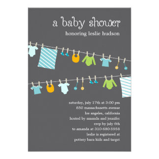Chic Clothesline Baby Shower Invitation Boy Invite