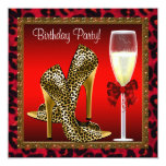 Chic Cocktail High Heel Shoes Red Leopard Birthday 13 Cm X 13 Cm Square Invitation Card