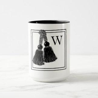 CHIC COFFEE MUG_ BLACK/WHITE WITH TASSELS MUG