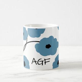 CHIC COFFEE MUG_MOD BLUE AND BLACK  POPPIES COFFEE MUG