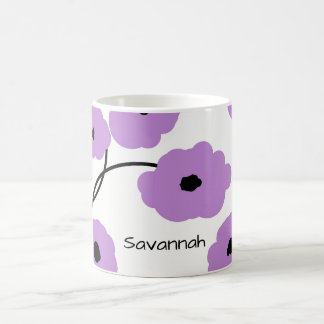 CHIC COFFEE MUG_MOD LAVENDER AND BLACK  POPPIES COFFEE MUG