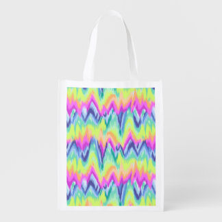 Chic Colorful Abstract Neon Chevron Pattern Reusable Grocery Bag
