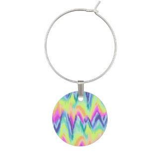 Chic Colorful Abstract Neon Chevron Pattern Wine Charm