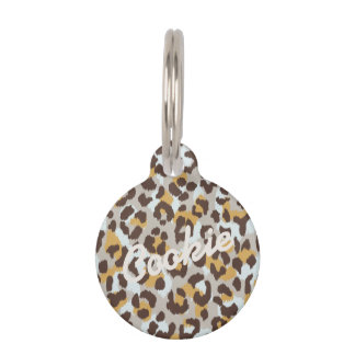 Chic colorful brown gold cheetah print monogram pet ID tag