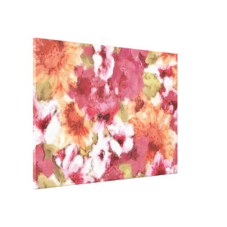 Chic Colorful Flower Pattern Watercolor Painting Canvas Print