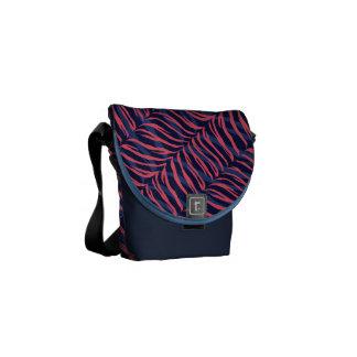 Chic colorful pink navy zebra print monogram messenger bag