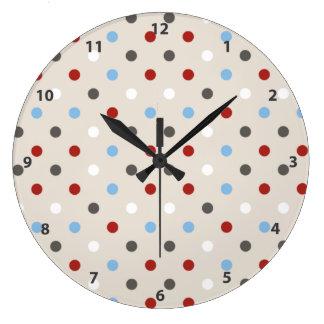 Chic Colorful Polka Dots Pattern Clocks