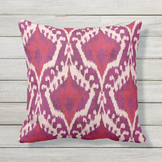 Chic colorful red and purple ikat tribal patterns cushion