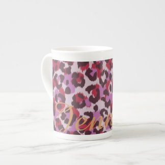 Chic colorful red lilac cheetah print monogram tea cup