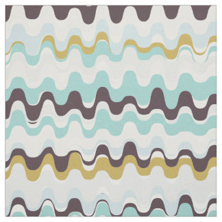 Chic colorful teal brown abstract wave pattern fabric